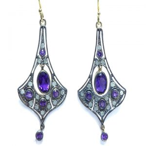 Amethyst Diamond Victorian drop earrings