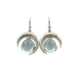 Blue Topaz half-moon drop earrings