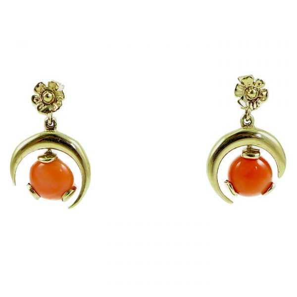 Coral halfmoon drop earrings
