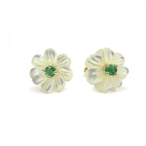 Emerald mother of pearl flower Stud