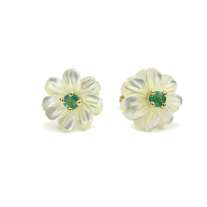 flower gold htm diamond stud p white earrings