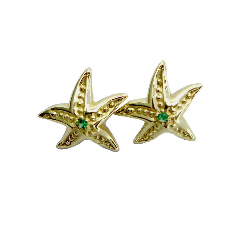 Emerald set Yellow gold Starfish studs