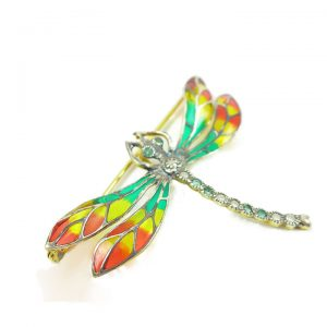 Enamelled sterling silver Dragonfly Brooch