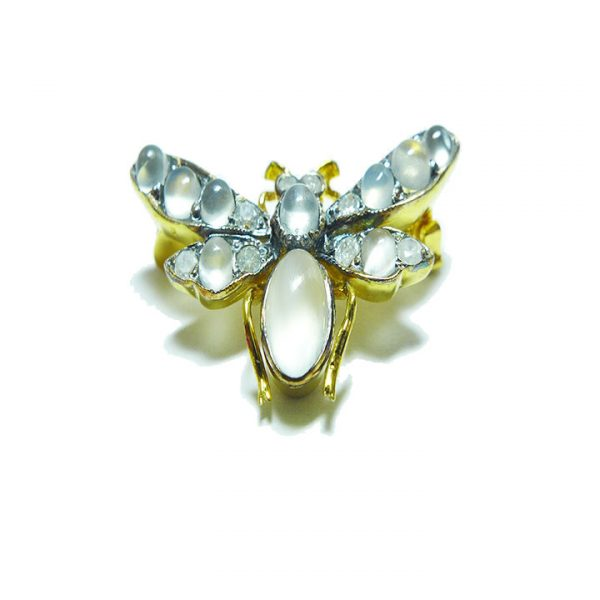 Moonstone and Diamond Bee brooch