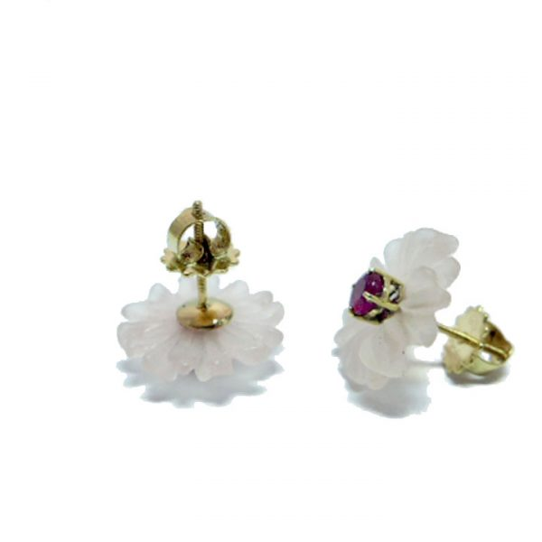Ruby and Rock Crystal flower stud