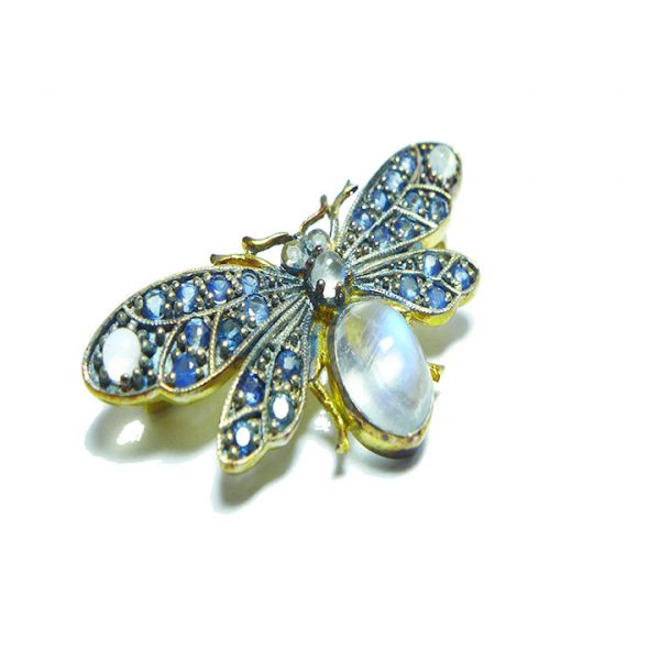 Moonstone and Sapphire bee brooch