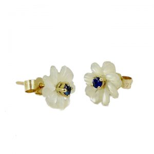 Sapphire pearl and gold flower stud