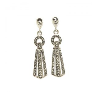 Marcasite and silver art deco drop earrings
