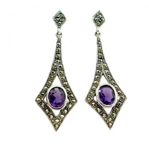 Amethyst and Marcasite Drop Earrings
