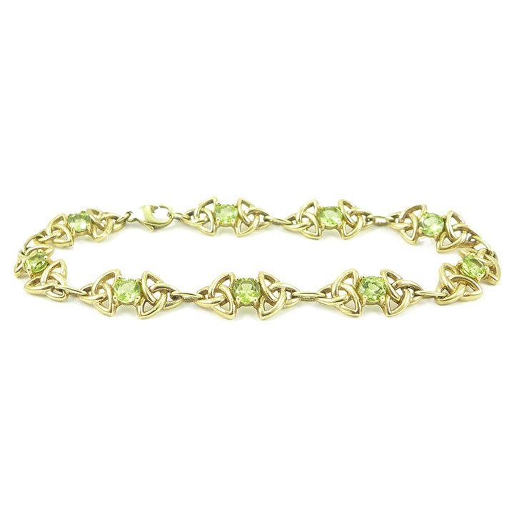 Peridot and yellow gold celtic bracelet | Clisson Design