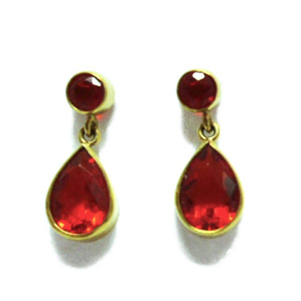 Fire Opal and yellow gold drop earrings