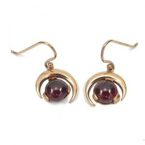 Garnet rose gold halfmoon drop earrings