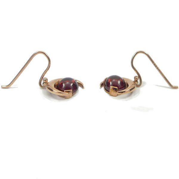 Garnet rose gold halfmoon drop earrings