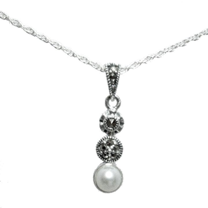 Pearl and marcasite silver art deco pendant and chain clisson design pearl and marcasite silver art deco pendant and chain aloadofball Images