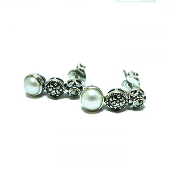 Pearl and Marcasite silver art deco drop stud earrings