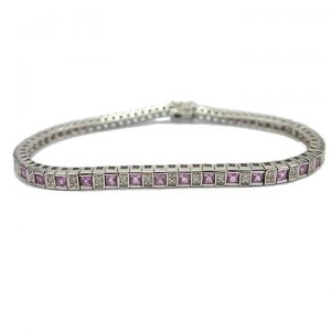 Princess cut Pink Sapphire and Diamond bracelet.