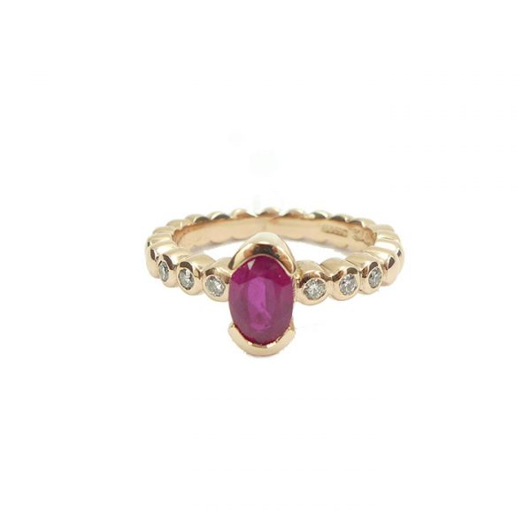 Ruby and Diamond rose gold 7 stone Ring