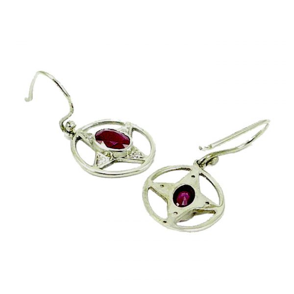 Ruby and Diamond Victorian style drop earrings