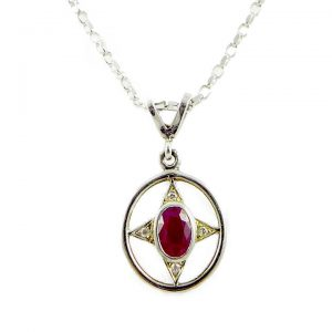 Ruby and Diamond Victorian style pendant and chain