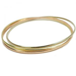 Yellow White and Rose gold Russian wedd style bangle