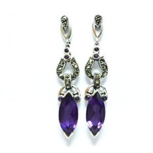silver amethyst marcacite drop earrings