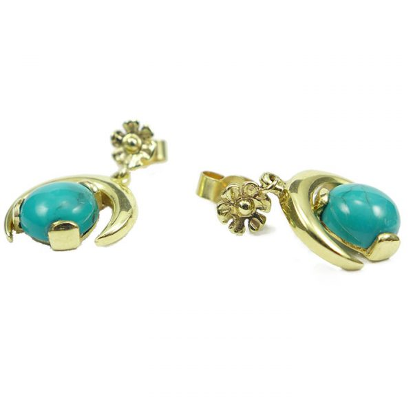 Turquoise half moon yellow gold drop earrings