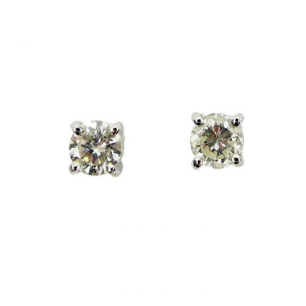 Diamond solitaire White gold stud earrings
