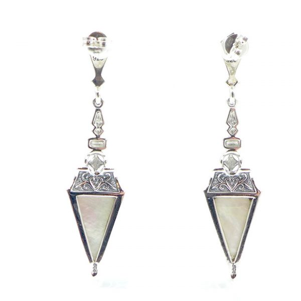 Marcasite & MOP Triangular drop 2 - Art Deco Jewellery