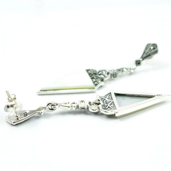 Marcasite & MOP Triangular drop 3 - Art Deco Jewellery