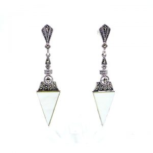 Marcasite & MOP Triangular drop 4 - Art Deco Jewellery