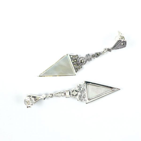 Marcasite & MOP Triangular drop 5 - Art Deco Jewellery
