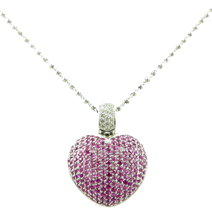 Pink sapphire and diamond heart necklace clisson design pink sapphire and diamond heart necklace aloadofball Gallery