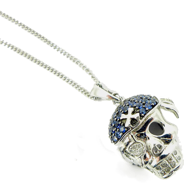 silver skull necklace sterling cubic zirconia pendant