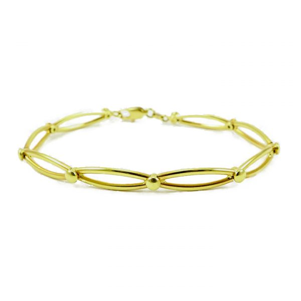 Yellow gold circular open link bracelet