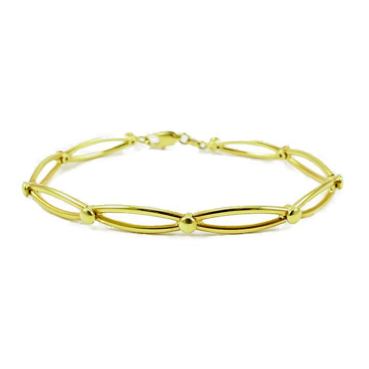 Yellow gold circular open link bracelet