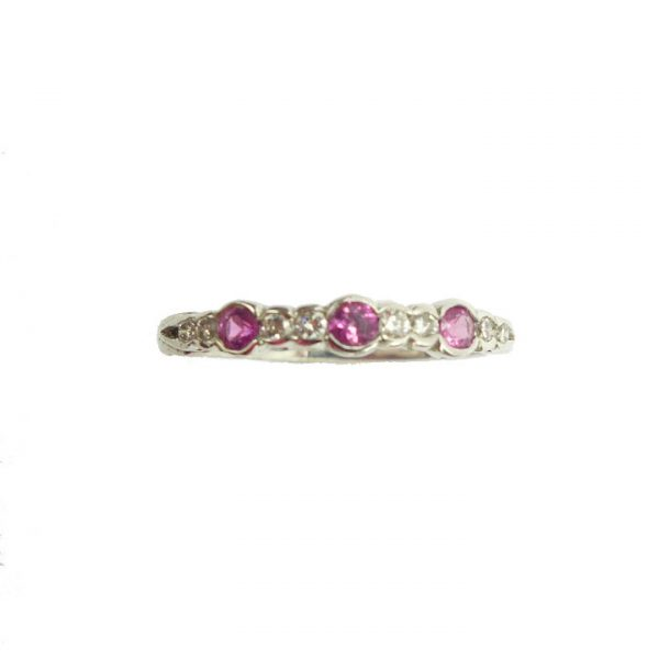 Pink sapphire and diamond white gold half eternity ring