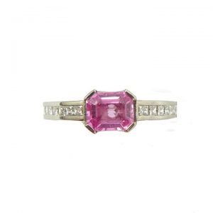 Pink sapphire,white gold and diamond ring