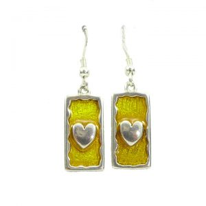 Sterling silver heart enamel drop earrings