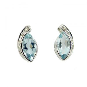 Blue Topaz and Diamond white gold stud earrings