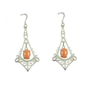 Sterling silver coral drop earrings
