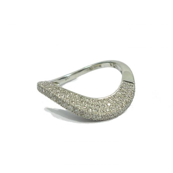 "Diamond and white gold ""wave"" ring"