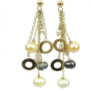 Multi coloured pearl drop earrings