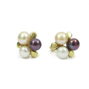 Three colour pearl gold stud earrings