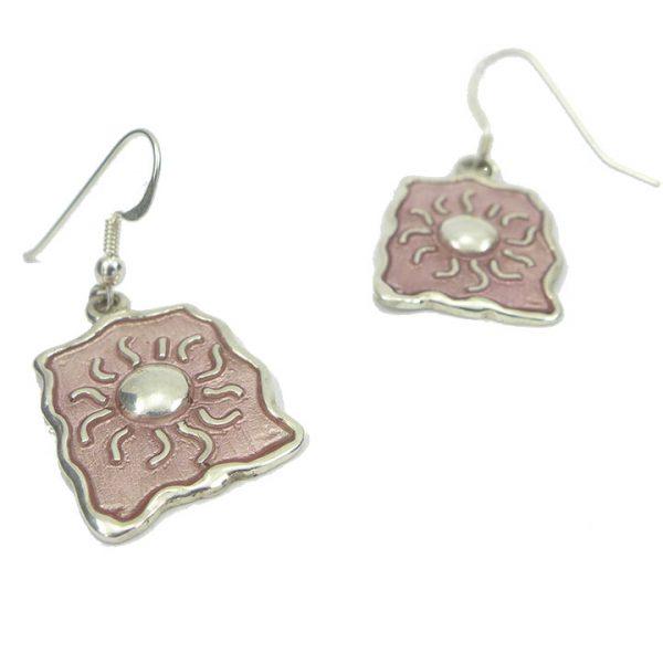 Sterling Silver Enamel Sun Earrings