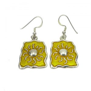 Sterling silver enamel sun earrings