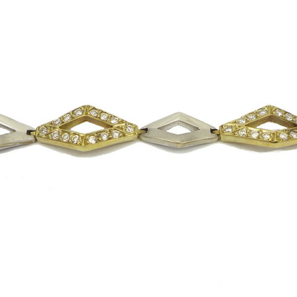 Yellow and white gold cubic zirconia set bracelet