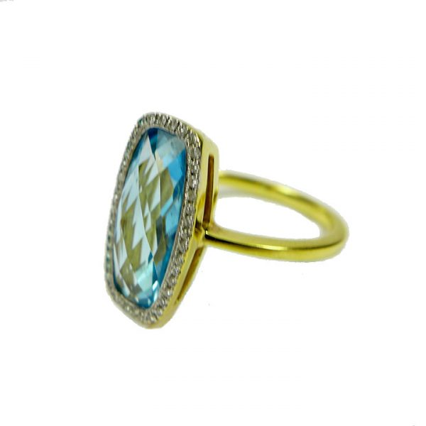Blue Topaz diamond yellow gold cluster ring