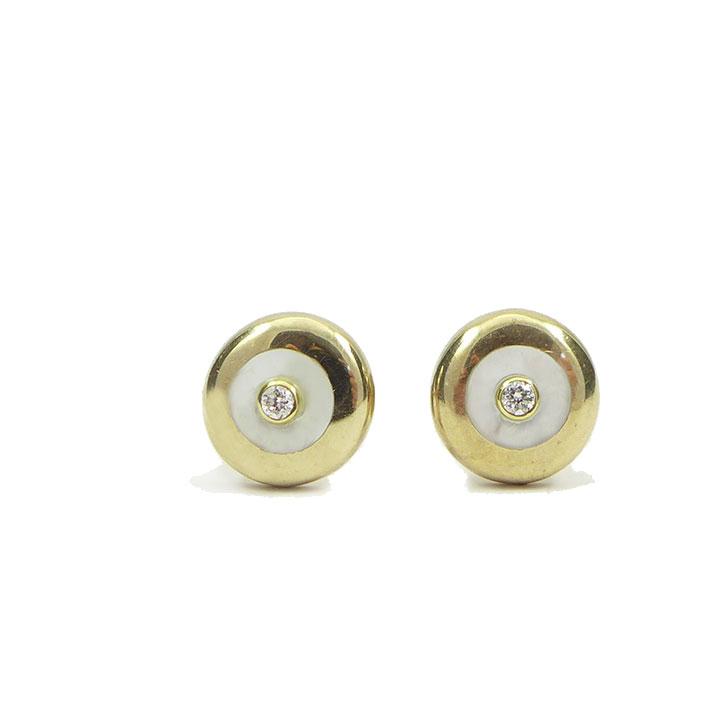 Diamond mother of pearl stud earrings