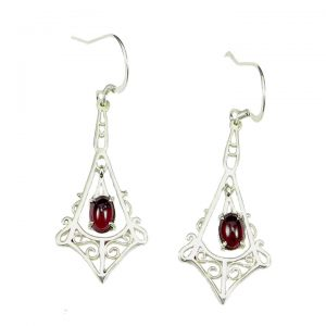Sterling silver Garnet drop earrings