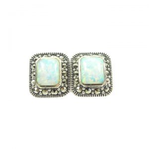 Opalite marcasite silver stud earrings